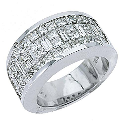 18k White Gold Mens Invisible Set Princess & Baguette Diamond Ring 3.17 Carats