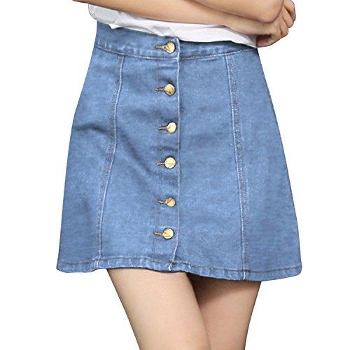Tutu Haute Courte Et Robe Taille Bleu Clair LAEMILIA 2018 Bouton Jean en Jupon Femme Jupe Crayon Casual q7Wp4Iwvx