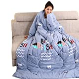 Double Side Lazy Quilt with Sleeves Winter Warm Thickened Washed Quilt Blanket Washed Pillow Blanket Sofa Bed for Women/Men,150 x 200cm(1950g) (D1(1912g))
