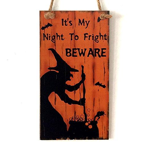 Zehui Witch Wooden Door Plaque Hanging Sign Halloween Wall Doorplate Hotel Home Decoration (Large Wooden Halloween Decorations)