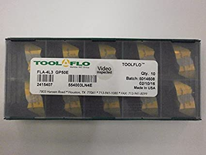 """TOOL FLO CARBIDE INSERTS L53 4P 1 1//2/"""" TPF INT AT22 QTY 10"""