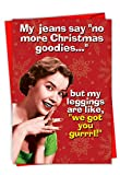 C6215XSG-B12x1 Box Set of 12 'No More Goodies' Funny Christmas Card Featuring The Conversation Between A Woman And Her Pants, with Envelopes
