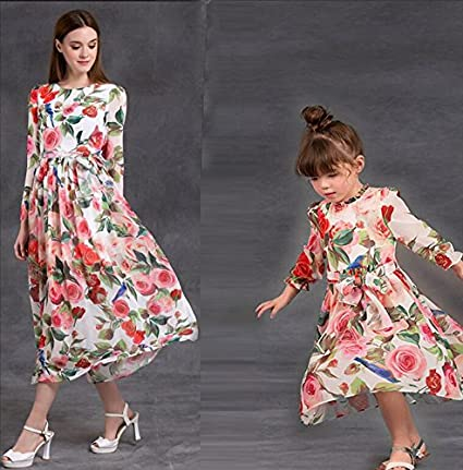 MNQ/ Mother and daughter parents loaded. rose-printed one-length dress with long sleeves. children's skirts SADFSF