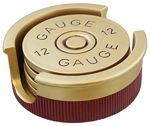 Large Version - Shotgun Shot Shell Coaster Set - 4 Coasters - 12 Gauge 30% Larger]()