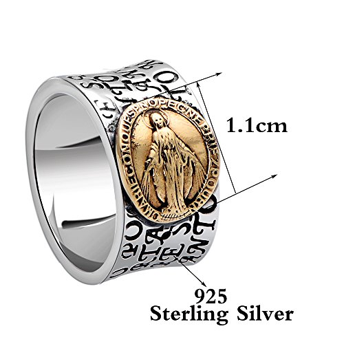 MetJakt Virgin Mary Solid 925 Sterling Ring with Scripture for Unisex Anniversary Religious Fine Jewelry (7) by MetJakt (Image #1)
