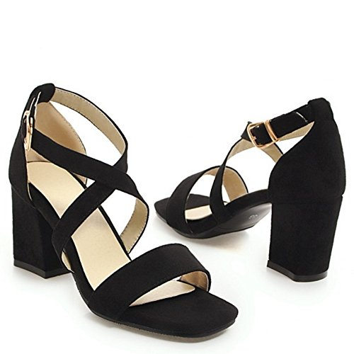 Coolcept Women Fashion Block Heel Sandals Black-88 zZM7s4a8