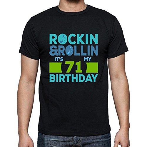 Rockin&Rollin 71, regalo cumpleaños hombre, camisetas hombre cumpleaños, rockin & rollin camiseta hombre, camiseta regalo, regalo hombre negro