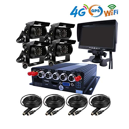 JOINLGO 4 Channel GPS 4G WiFi 1080P AHD 2 SD Mobile Vehicle Car DVR MDVR Video Recorder Kit Real-time Monitor on PC Phone with 4 Metal Side Front Rear View Backup Car Cameras 7 inches VGA Car Monitor