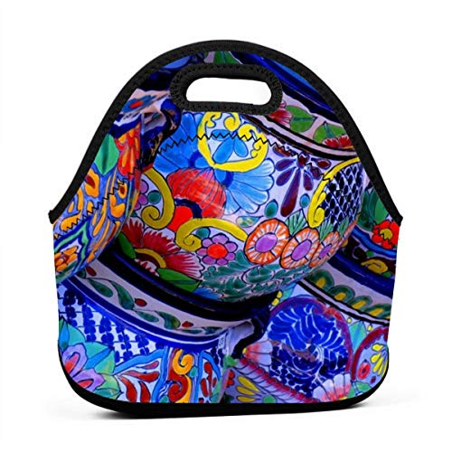 utiful Bowl Colorful Pottery Prints Insulated Neoprene Lunch Bag Tote Handbag Lunchbox Food Container Gourmet Tote Pouch for Outdoor Tour School Office Picnic ()