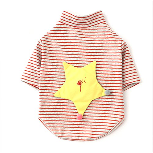 [Long Sleeves Stripe Pet Dog Clothes Tee Shirts Blowing Dandelion Embroidery Pet Costume] (Dandelion Dog Costume)