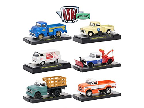 Auto Trucks 6 Piece Set Release 46 IN DISPLAY CASES 1/64 Diecast Model Cars by M2 Machines 32500-46