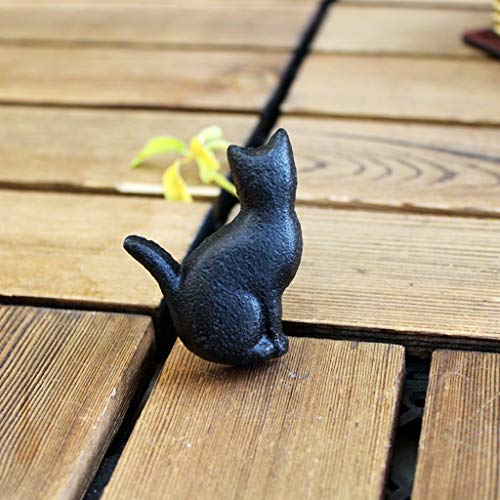 Personalidad Creativa Americana Armario Cajón Volver Gato Manija pequeña Vintage Metal Negro Mate Hierro Fundido Mango 2