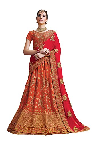 PCC Indian Women Designer Wedding Orange Lehenga Choli Fabz-2605