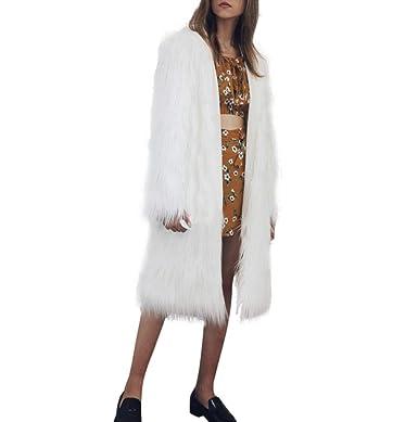 df51455fe61d FNKDOR Manteau Femme Hiver Chaud Epais Veste Blouson Manches Longues Fausse Fourrure  Longues Parka avec Capuche