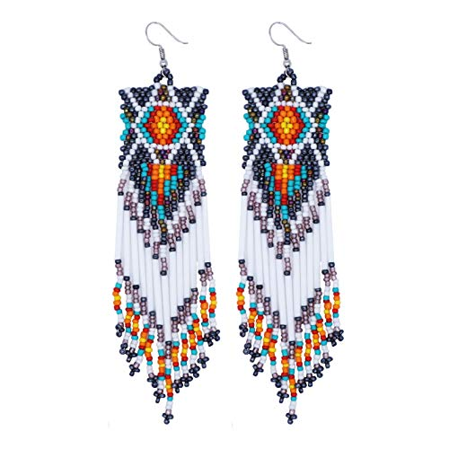 Chemistry Native American Inspired Beaded Turtle Earrings Handmade Glass Seed Beads (White)