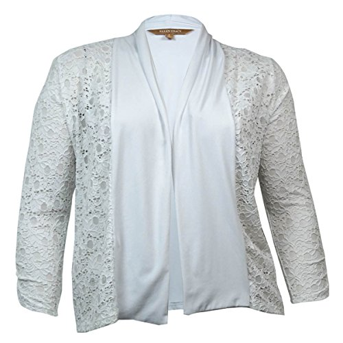 Ellen Tracy Women's Illusion Lace Jersey Top (L, Pearl)