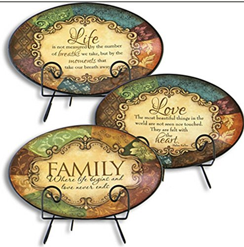 Gerson International Ceramic Plates with Metal Stands - Family - Love - Life 3 Plate Combo (Decorative Display Plates)