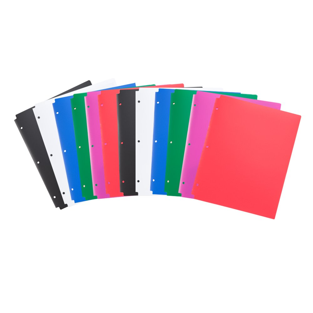 Comix Plastic 3 Hole Punched 2 Pocket Folders, Letter Size, Pack of 24, Assorted Colors,Back to School/Campus Supply (A2140-24)