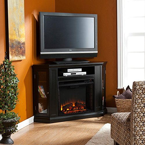 Electric Fireplace TV Stand Heater Corner Or Flat Free Standing Console Media Wooden Entertainment Center (Black)