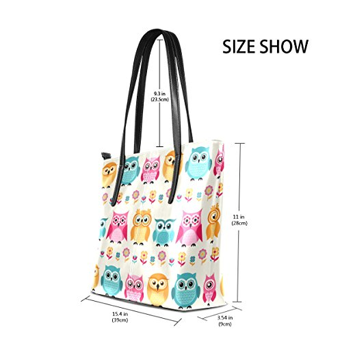 Purses Owls Shoulder PU Handle Women's Totes Top Leather Handbag Bags TIZORAX Cartoon Fashion 7w1qF
