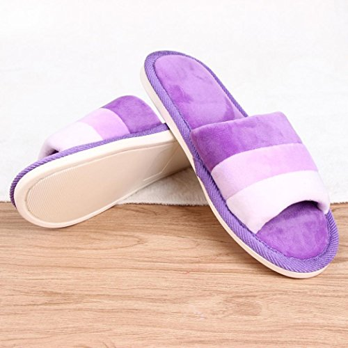 Clode® Unisex Slipper, Womens Mens Cotton Indoor Stripe Peep-Toe Home Floor Soft Flat Winter Fuzzy Slip On Anti-Slip Hard Sole Mules Slippers Shoes Purple
