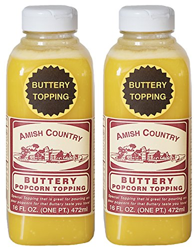 Amish Country Popcorn - Buttery Popcorn Toppings (2 Pack -16 Oz/Each) - Old Fashioned, Non GMO, Gluten Free - With Recipe Guide (Best Popcorn Butter Spray)