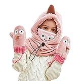 Tieesa Kids Winter Hat Warm Scarf Glove Set Windproof Face Mask Girl Boy Aged 4-12 Years (Pink)