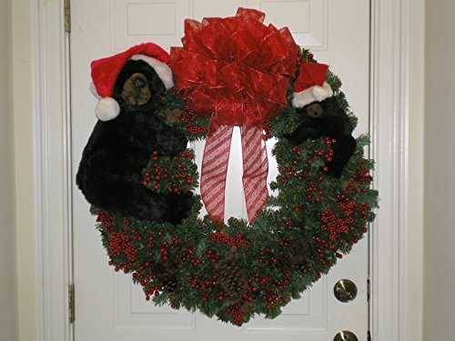 christmas wreath with black bears handmade rustic decor - Black Bear Christmas Decor