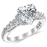 2.85 Cttw 14K White Gold Heart Cut Designer Four Prong Pave Set Round Diamonds Engagement Ring with a 2 Carat I-J Color I1 Clarity Center