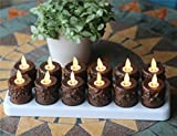 NONNO&ZGF Set of 12 Primitive Tealight Candles with Moving Wick Flame, Remote Control, Timer & Charging Plate