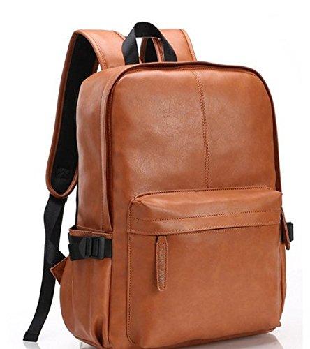 Mefly El aceite Wax Leather mochila para hombres viajan mochilas diseño occidental de cuero estilo Mochila escolar,azul Brown