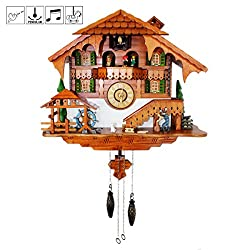 Cuckoo Clock Black Forest Quartz Wall Clock Pendulum Movable Bird, Dancers, Watermill, Farmer by Kintrot