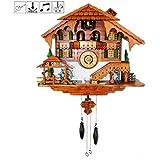 Cuckoo Clock Black Forest Quartz Wall Clock Pendulum Movable Bird, Dancers, Watermill, Farmer by Kintrot
