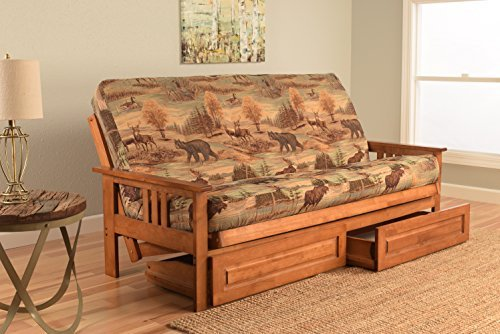 Kodiak Furniture KFMODBBCANLF5MD4 Monterey Futon Set with Barbados Finish and Storage Drawers, Full, Canadian by Kodiak Furniture