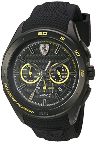 Ferrari Men's Quartz Stainless Steel and Silicone Watch, Color:Black (Model: - Color Ferrari Official