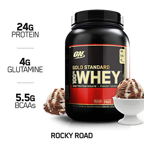 (OPTIMUM NUTRITION GOLD STANDARD 100% Whey Protein Powder, Rocky Road, 2 Pound)