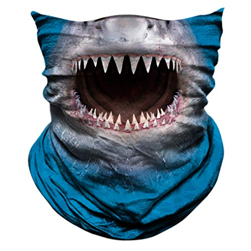 2 Pack - 3D Animal Neck Gaiter Shield Scarf Bandana Face Mask Seamless UV Protection for Motorcycle Cycling Riding Running Fishing Hiking Conoeing Shark