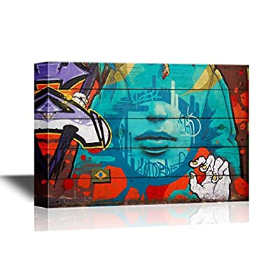 Canvas Wall Art - Abstract Graffiti - Gallery Wrap Modern Home Art | Ready to Hang - 16x24 inches