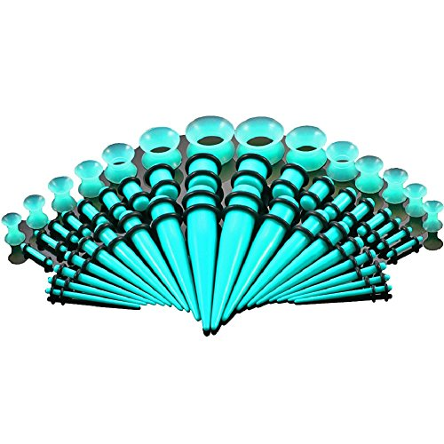 (50Pcs Stretching Kits Tapers Tunnels Ear Gauges Plugs Earrings Expander UV Acrylic Silicone Set Body Piercing Jewelry (Blue))