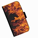 Hairyworm - Orange flames on black background Acer Liquid Z220 (Acer Liquid Z220 Duo with Dual-SIM card slot) leather side flip wallet cell phone case, cover with card slots, money slot and magnetic clasp to close.