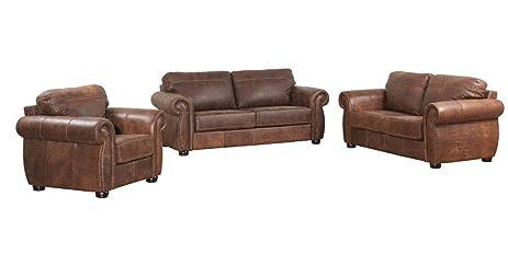 Superb Ashanti Mercury BUFFALO Genuine Aniline Leather Sofa Set   Mid Brown