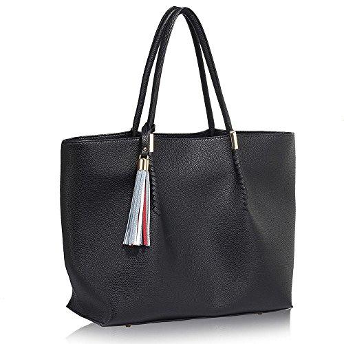 Extra Large Handbags For Women Ladies Oversized Big bags For Travel Office University Hobo DEsigner With Free Bag Charm Design 1 - Black