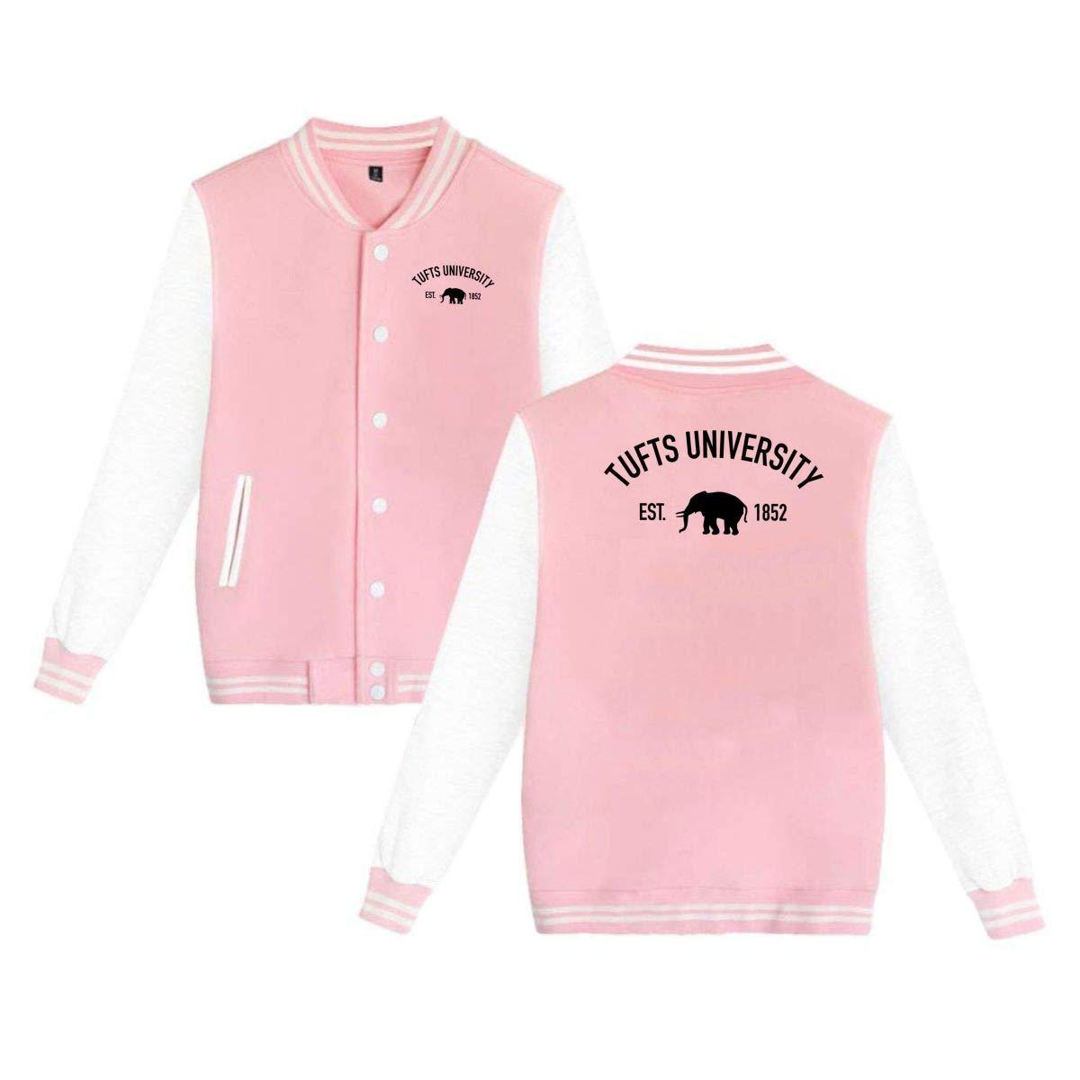 QTHOO Unisex Tufts University Established 1852 Long Sleeve Velvet Warm Casual Baseball Uniform Jacket Button Sport Coat