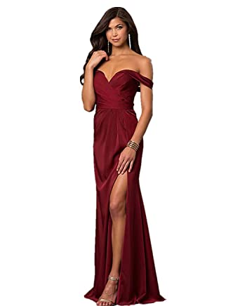 a6783965e7db1 BRLMALL Slit Mermaid Prom Dress Short Sleeve Ruched Evening Gown Formal at  Amazon Women's Clothing store: