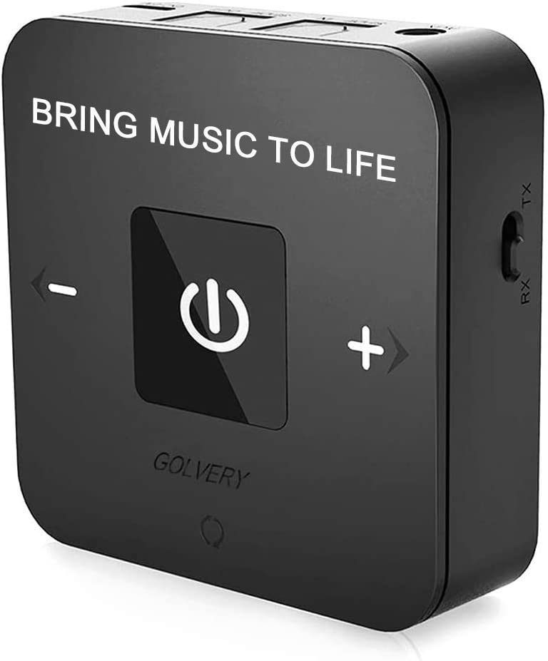 Golvery Bluetooth 5.0 Transmitter Receiver with 40ms Low Latency, Wireless Bluetooth Audio Adapter with Digital Optical & 3.5mm Aux Jack for TV PC Xbox PS4 Home Stereo, No Audio Delay & Pair 2
