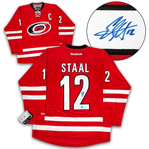(AJ Sports World Eric Staal Carolina Hurricanes Autographed Reebok Premier Hockey Jersey)