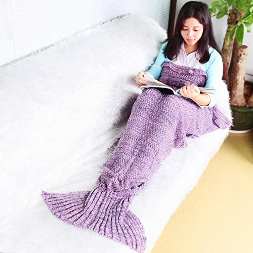 efperfect Mermaid Tail Blanket, Knitting Handcraft Sleeping Bag for Girls Adults, All Seasons Warm Sofa Living Room Blanket (Light Pink)