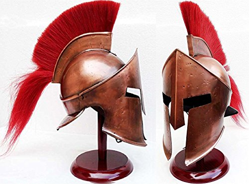 AnNafi Greek Spartan Helmet,SCA Armor Adult,Medieval Roman 300 King Leonidas Movie Helmets,Knight Costume+Liner+Wooden Stand]()