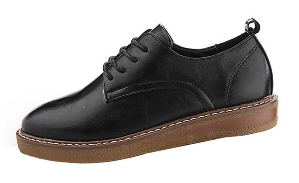 CHFSO Women's Fashion Solid Waterproof Round Toe Lace Up Low Top Low Heel Platform Oxfords Shoes Black 4 B(M) US