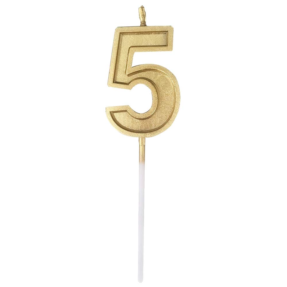 Numeral Candles, Number Birthday Numeral Candles Number Cake Decor for Adults/Kids Birthday Party (Gold 5)